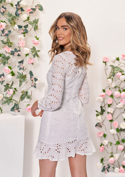 Deep V Front Knot Embroidery Cut Out Frilled Hem Mini Dress White