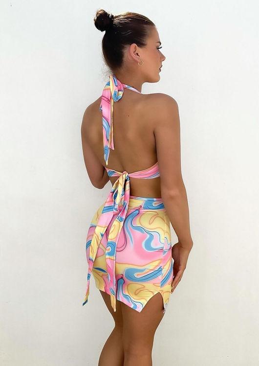 Cut Out Deep V Halterneck Double Back Tie Midi Dress Pink