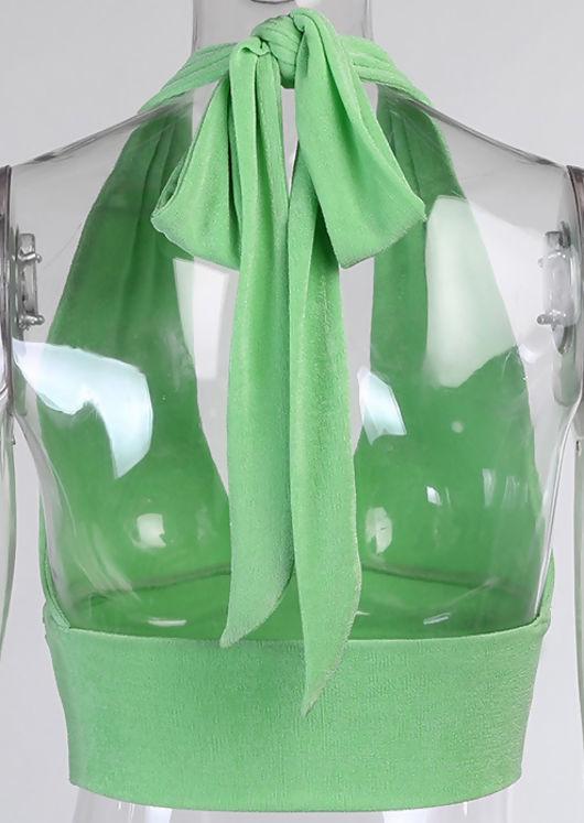 Deep V Halterneck Open Back Front Ruched Crop Top Green