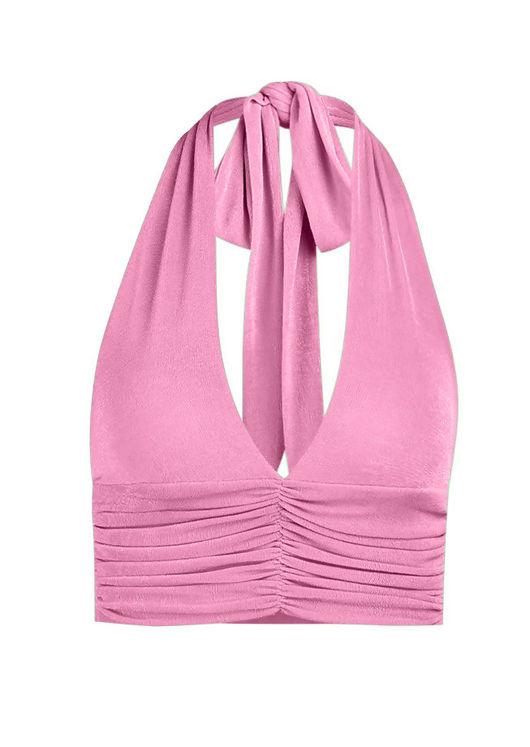 Deep V Halterneck Tie Back Crop Tank Top Pink