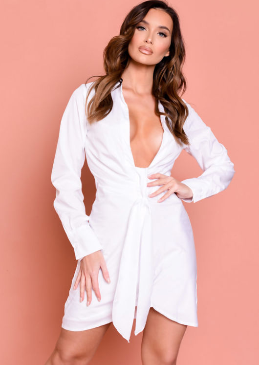 Deep V Neck Knot Front Shirt Dress White