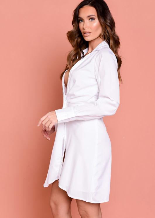 Deep V Neck Knot Front Shirt Dress White