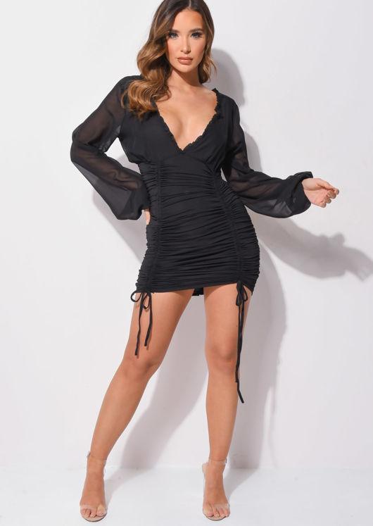 Deep V Neck Long Sleeved Ruched Mini Bodycon Dress Black