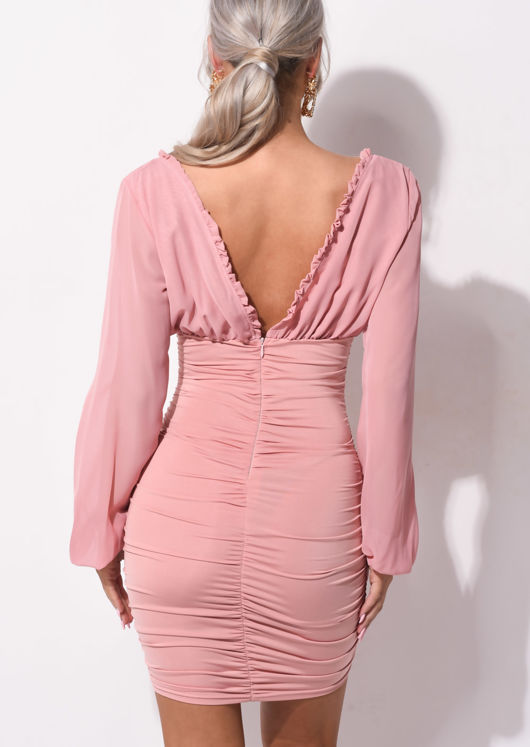 Deep V Neck Long Sleeved Ruched Mini Bodycon Dress Pink