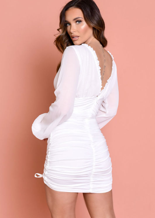Deep V Neck Long Sleeved Ruched Mini Bodycon Dress White