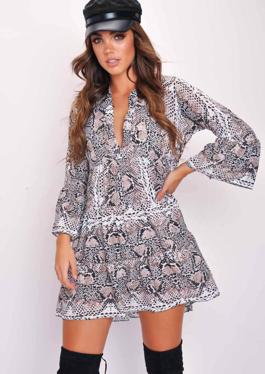 Deep V Neck Tiered Flare Sleeve Dress Snake Print Multi