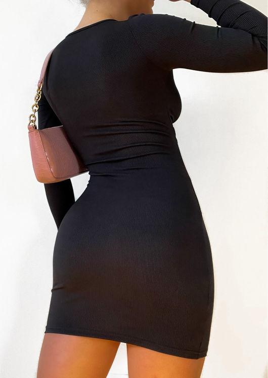 Deep V Neckline Long Sleeve Cut Out Mini Dress Black
