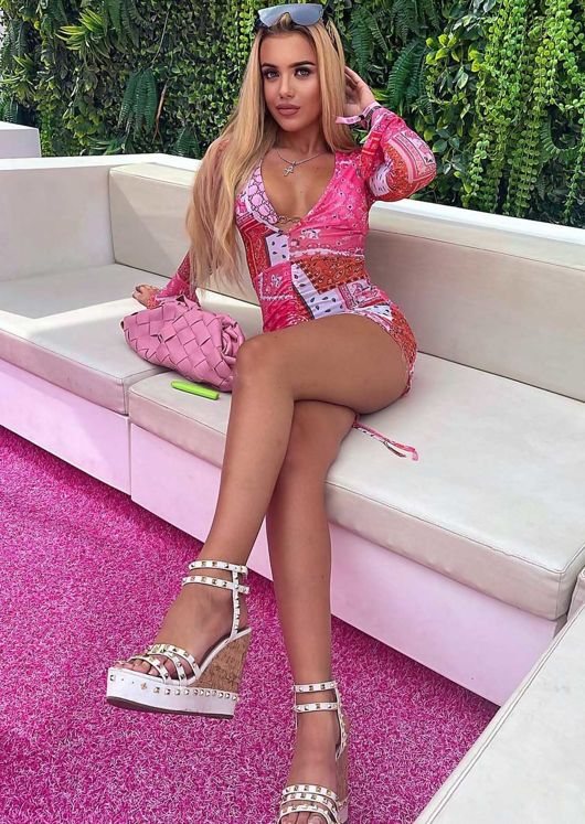 Deep V Paisley Long Sleeve Mesh Ruched Front Mini Dress Pink
