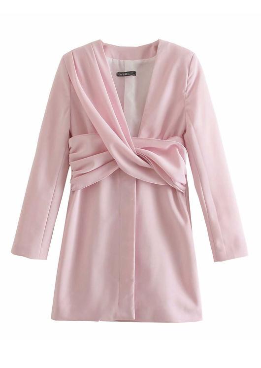 Deep V Shoulder Padded Twisted Front Mini Dress Pink