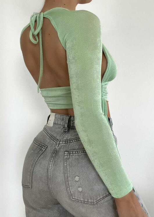 Deep V Side Cut Out Ruched Open Back Long Sleeve Crop Top Blue