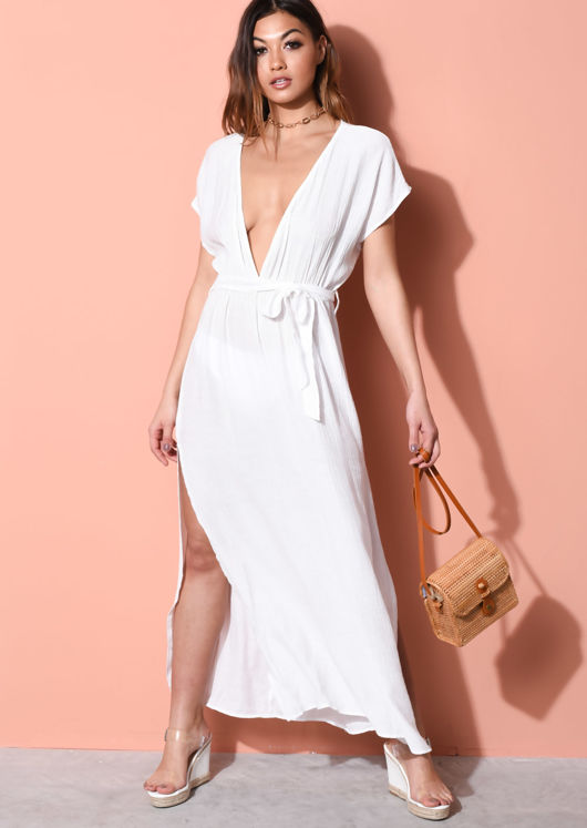 c6ccaf0bf4 Cover Up Deep V Side Splits Beach Maxi Kaftan Dress White | Lily Lulu