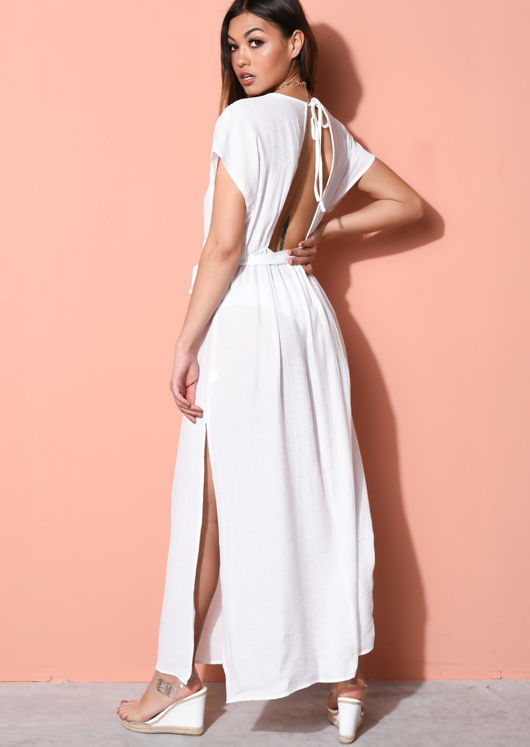 Deep V Side Splits Maxi Kaftan Dress White