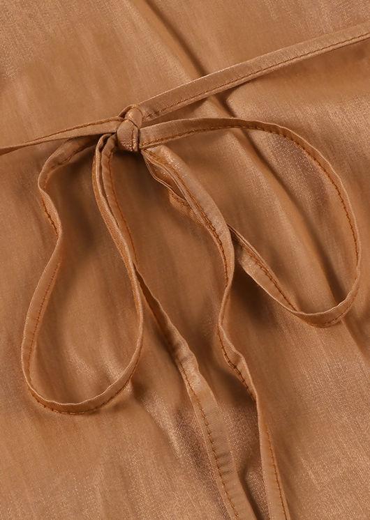 Deep V Sleeveless Back Tie Drawstring Detail Mini Satin Dress Orange