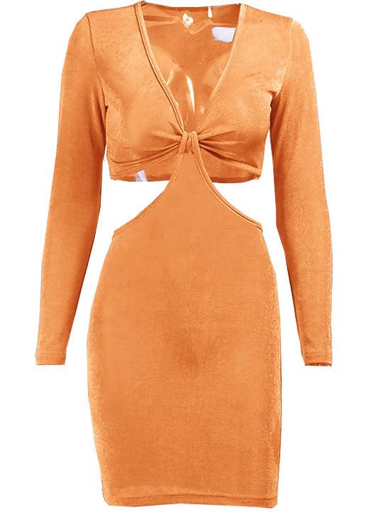 Deep V Slinky Long Sleeve Side Cut Out Mini Dress Orange