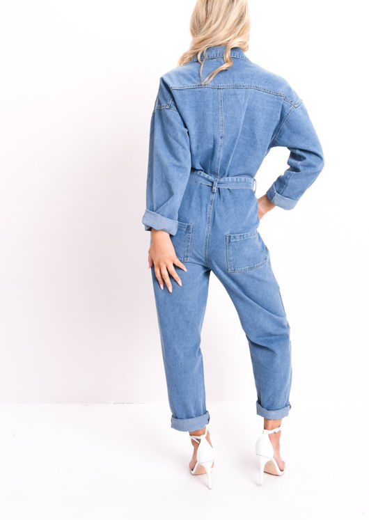 Denim Belted Utility Boilersuit Blue