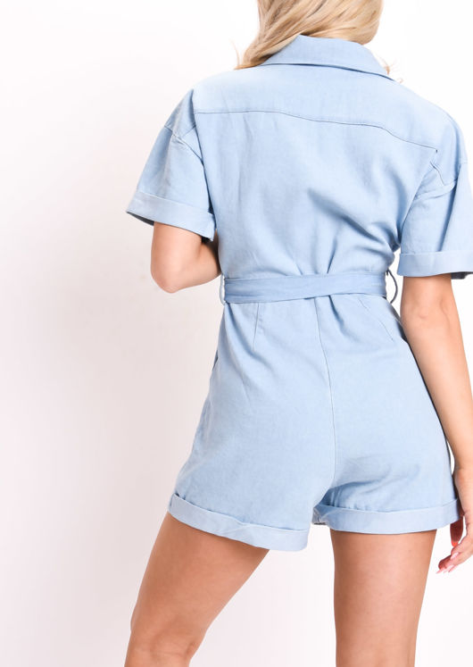 Denim Belted Utility Playsuit Light Blue