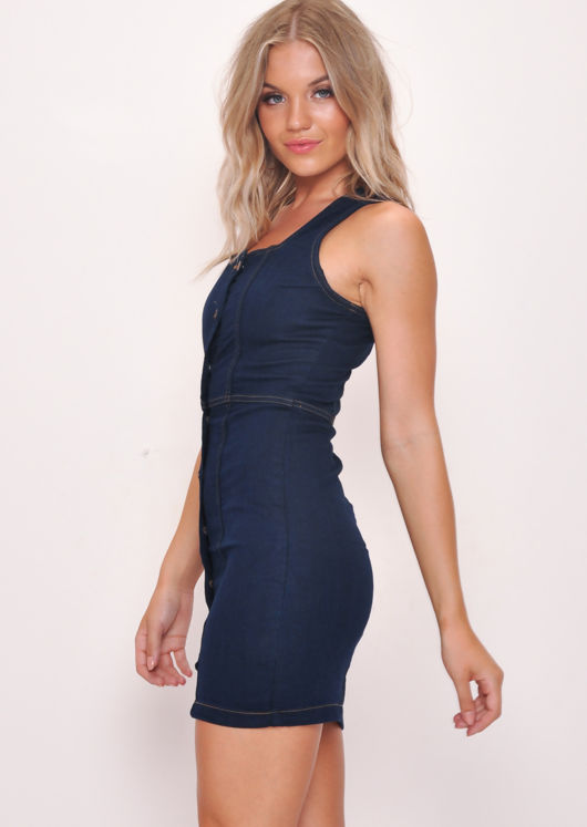 Denim Button Through Mini Dress Dark Blue