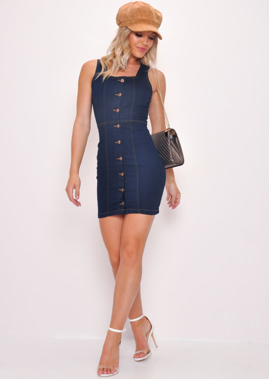Denim Button Through Mini Dress Dark Blue