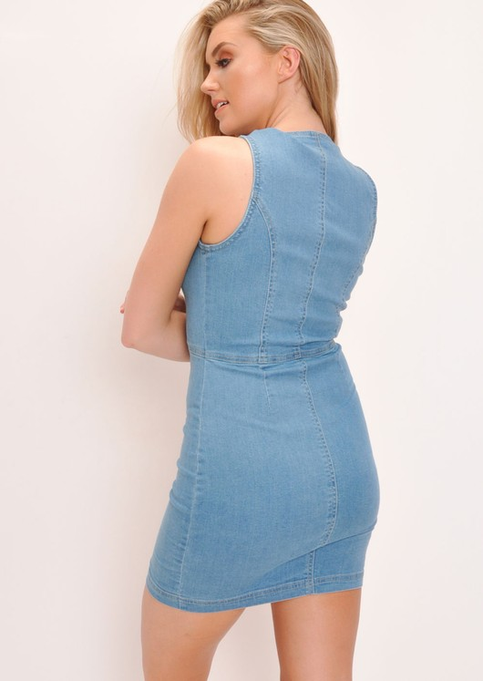 Denim Button Through Mini Dress Light Blue