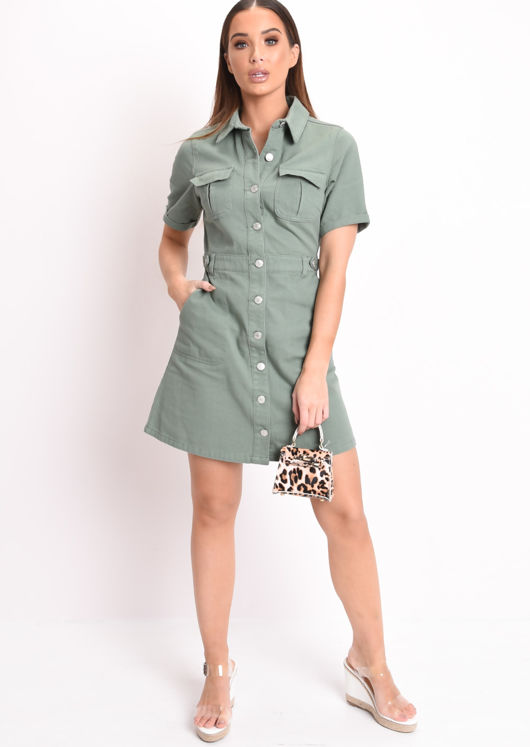 Denim Button Through Mini Shirt Dress Green