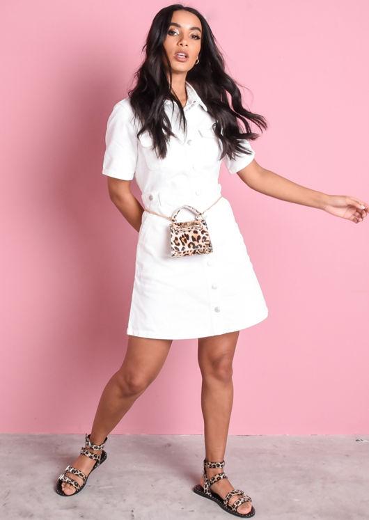 Denim Button Through Mini Shirt Dress Cream White