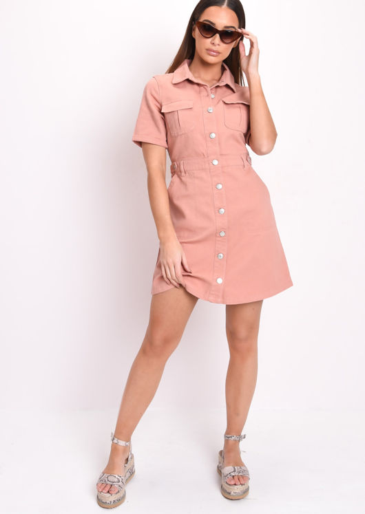 Denim Button Through Mini Shirt Dress Terracotta Pink