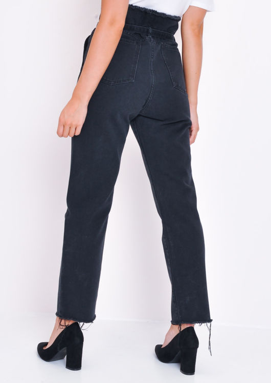 Denim Frayed Hem Paperbag Jeans Black
