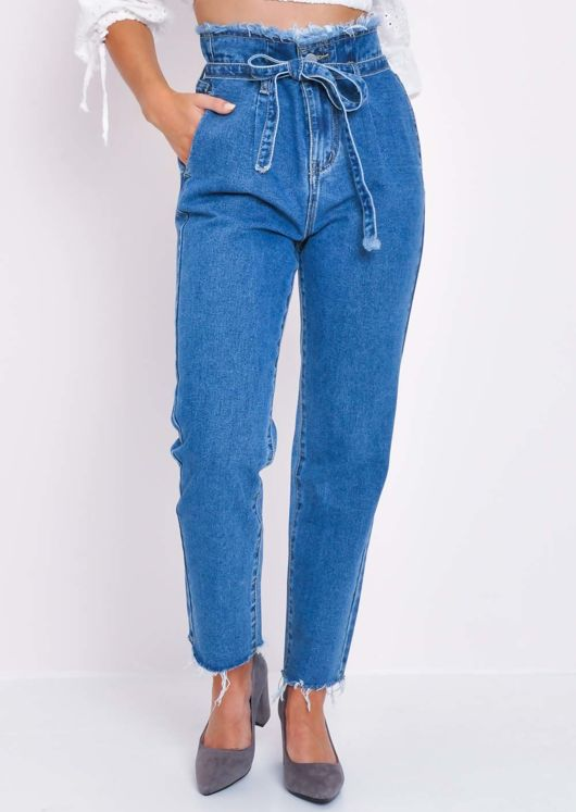 Denim Frayed Hem Paperbag Jeans Blue