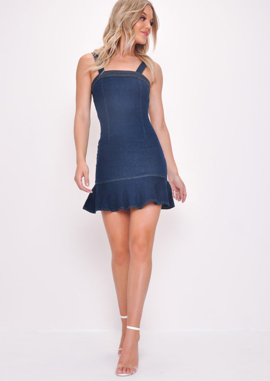 Denim Frill Ruffle Hem Bodycon Dress Dark Blue