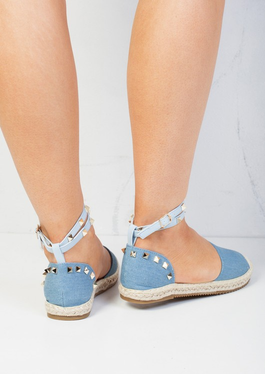 Denim Studded Espadrilles Light Blue