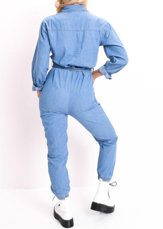 Denim Tie Waist Long Sleeve Jumpsuit Blue