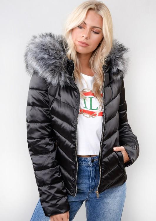 8992b03c2 Satin Shine Faux Fur Hooded Padded Puffer Jacket Coat Black