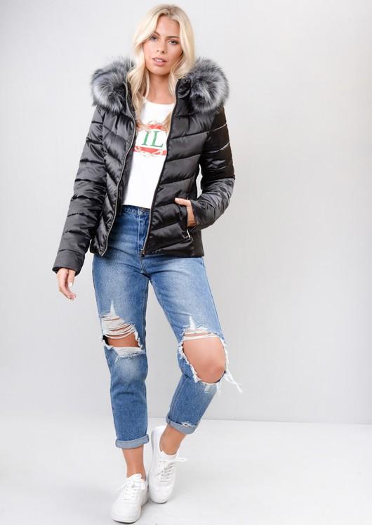 Satin Shine Faux Fur Hooded Padded Puffer Jacket Coat Black