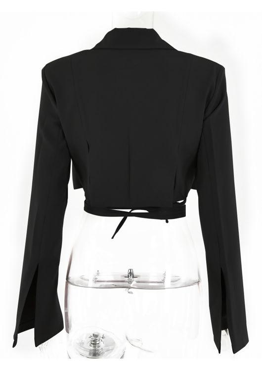 Detachable Wrap Over Drawstring Gun Flapped Cropped Blazer Top Black