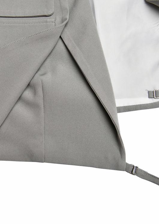 Detachable Wrap Over Drawstring Gun Flapped Cropped Blazer Top Grey