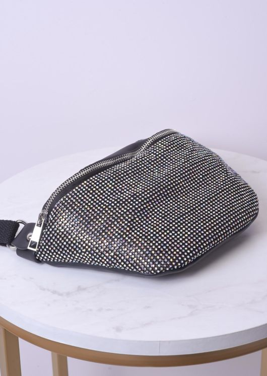 Diamante Buckle Strap Bum Bag Black