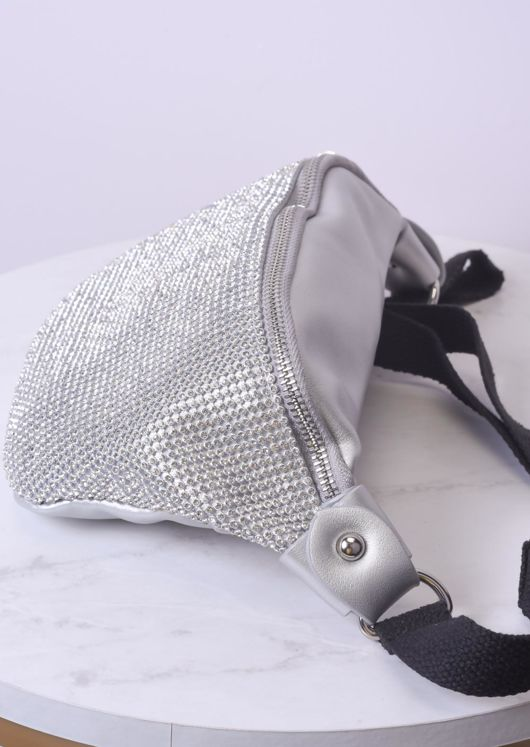 Diamante Buckle Strap Bum Bag Silver