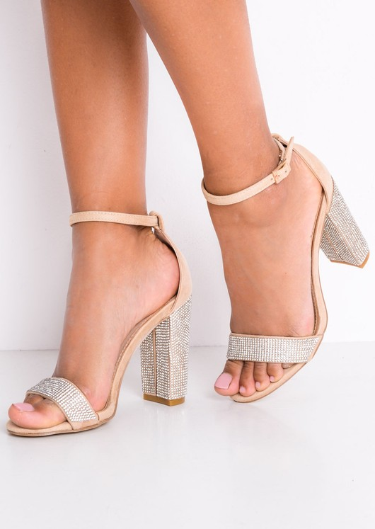 Diamante Embellished Faux Suede Strappy Block Heeled Sandals Beige