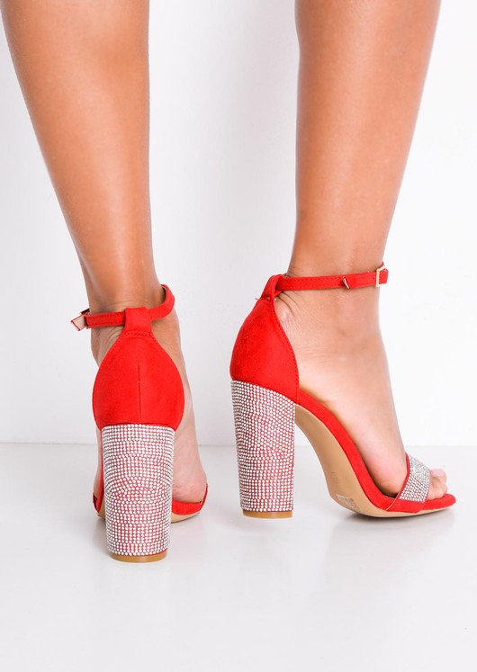 Diamante Embellished Faux Suede Strappy Block Heeled Sandals Red