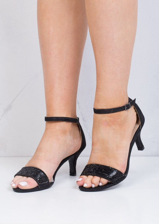 Diamante Embellished Heeled Sandals Black