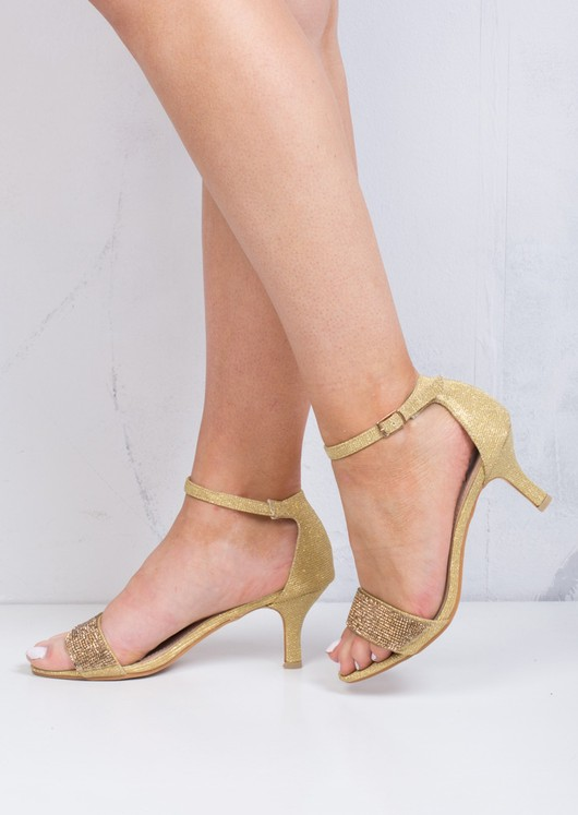 Diamante Embellished Heeled Sandals Gold