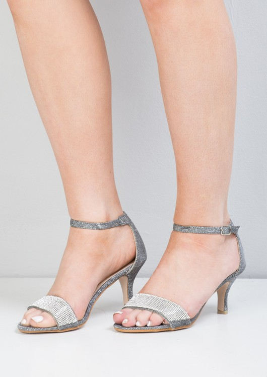 Diamante Embellished Heeled Sandals Grey