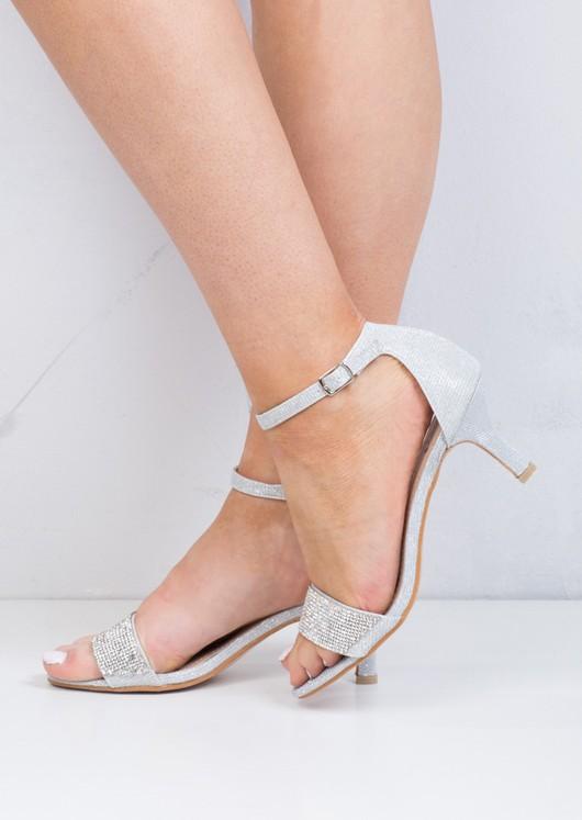 Diamante Embellished Heeled Sandals Silver