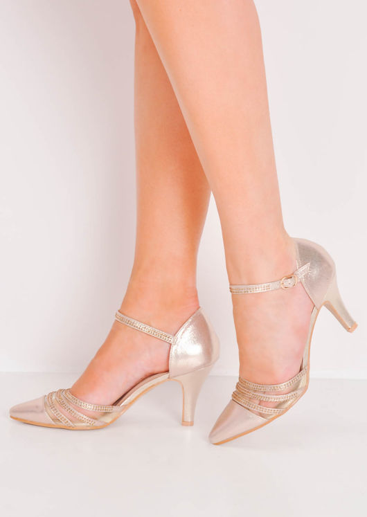 Diamante Mesh Embellished Kitten Court Heels Gold