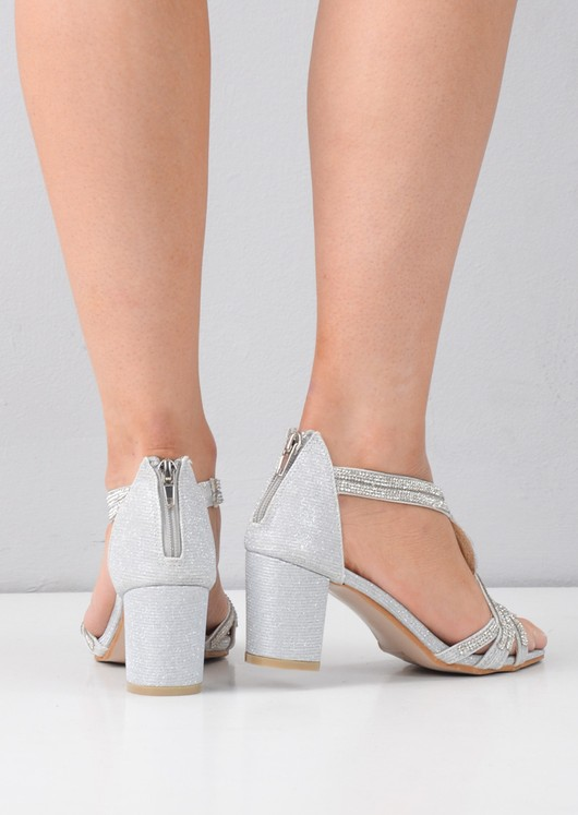9c63495c3a18 Diamante Embellished Open Toe Block Heeled Sandals Silver