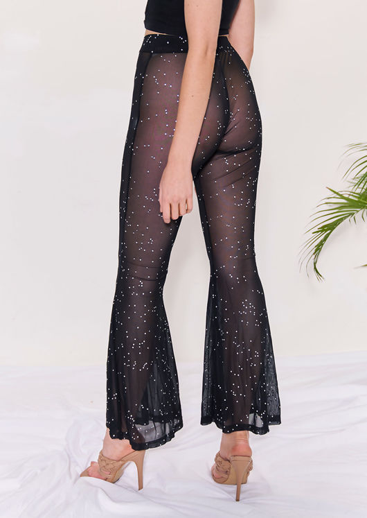 High Waisted Mesh Diamante Embellished Flared Trousers Black