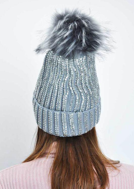 Diamante Faux Fur Bobble Knitted Fleece Lined Hat Grey