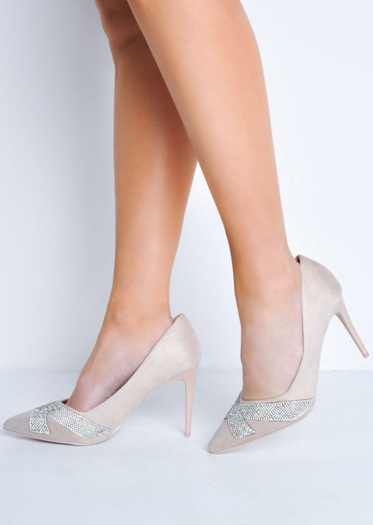 Diamante Faux Suede Pointed Toe Stiletto Heels Beige