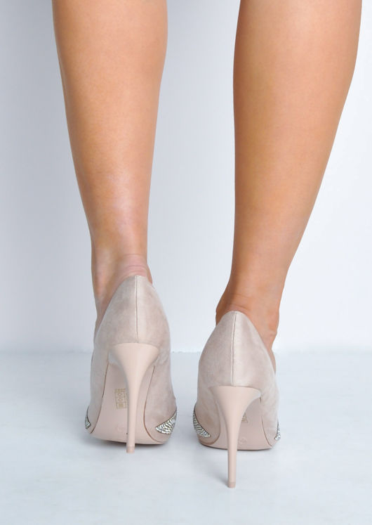 Diamante Faux Suede Pointed Toe Stiletto Heels Beige