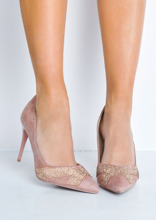 27f7a27c4f93 Diamante Faux Suede Pointed Toe Stiletto Heels Pink | Lily Lulu